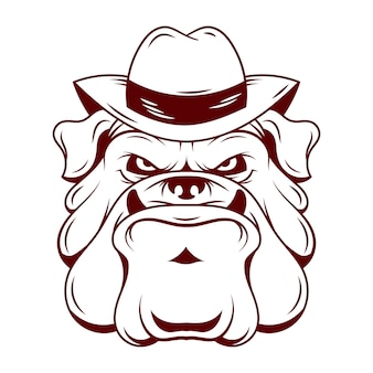 Mafia dog character with hat