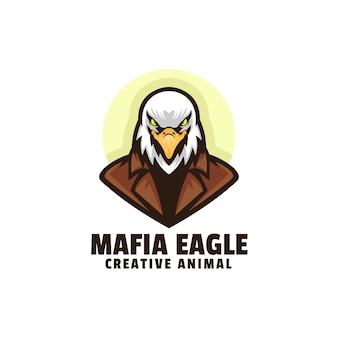 Шаблон логотипа талисмана мафии орла в мультяшном стиле