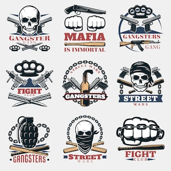 Mafia fight emblems in color