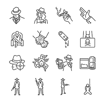 Mafia and gangster line icon set.