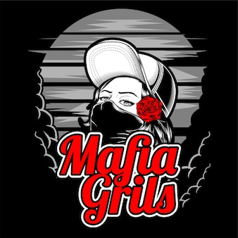 Mafia girl wearing cap and rose