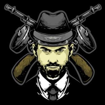 Mafia head with hat and gun