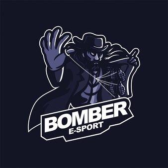 手榴弾eスポーツゲーミングマスコットロゴテンプレートを保持しているマフィア