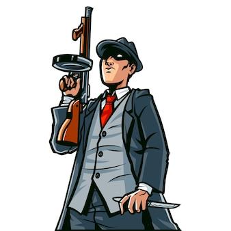 총 만화 일러스트와 함께 마피아 남자