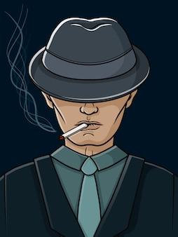 帽子とタバコを持つマフィアの男。ギャング。図。