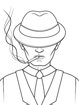 Mafia man with a hat and a cigarette. gangster. black and white.  illustration.