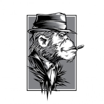 Mafia monkey black and white illustration