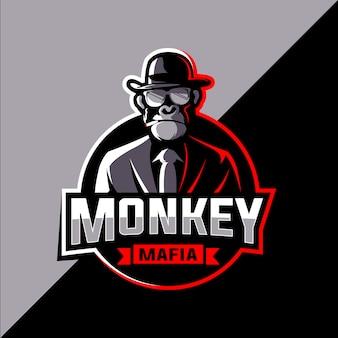 Мафия обезьяна киберспорт дизайн логотипа