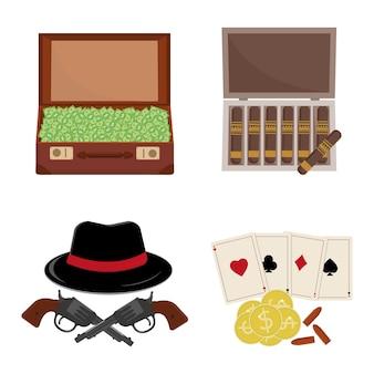 Набор мафии, мужская шляпа, деньги в чемодане и револьвер с игральными картами