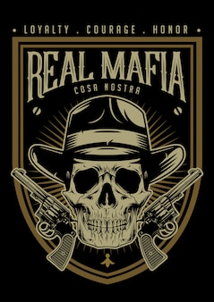 Mafia skull with pistols emblem