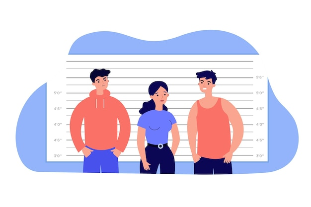 マフィア容疑者が警察のラインナップに立っている