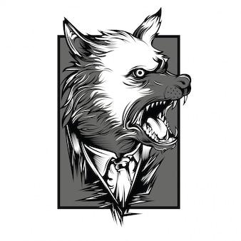 Mafia wolves black and white illustration