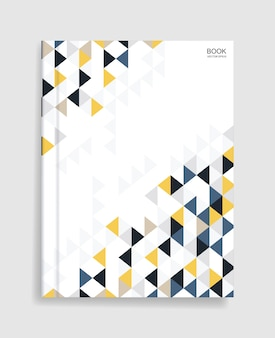 Magazine book template with cover of colorful geometric pattern and soft shadow.