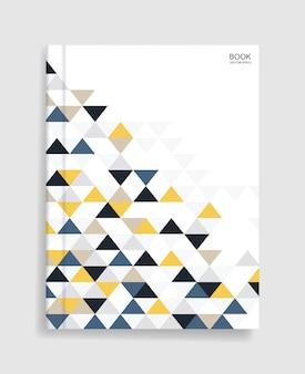 カラフルな幾何学模様と柔らかい影のカバー付きの雑誌の本のテンプレート。