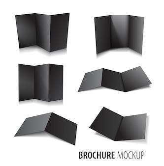 Magazine, booklet, postcard, flyer, business 3d black card or brochure template set.