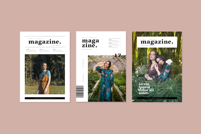 Magazine cover collection with photo