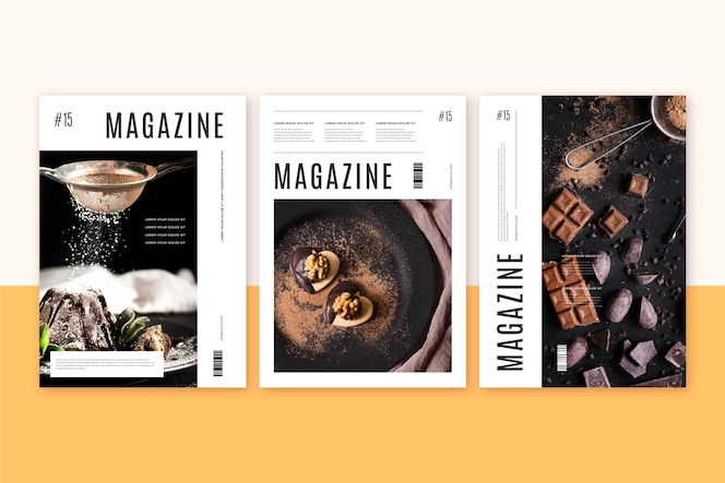 Magazine cover collection with sweets photo