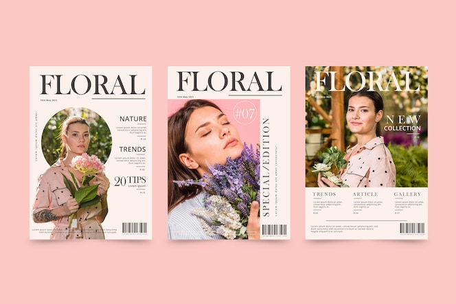 Magazine cover template collection with photo