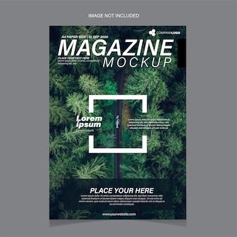 Modello di copertina di una rivista contenente un'immagine di alberi
