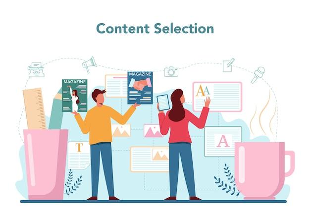 Концепция редактора журнала. журналист и дизайнер работает над журнальной статьей и фотографией.