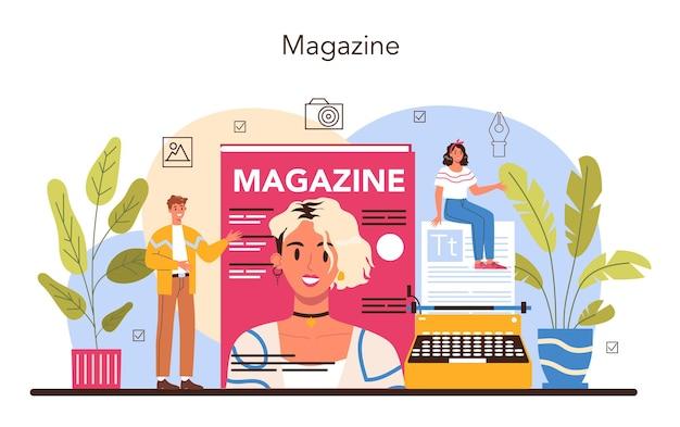 잡지 편집자 개념입니다. 잡지에서 일하는 기자 및 디자이너