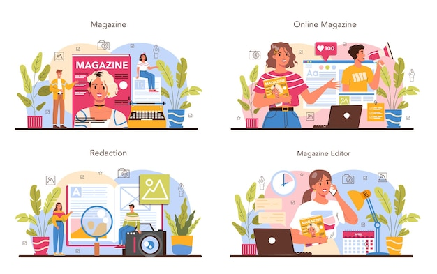Magazine editor concept set. journalist and designer working on magazine article and photo. content selection, release plan and promotion. isolated flat vector illustration