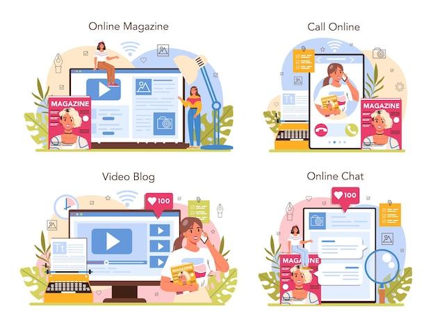 マガジンエディターのオンラインサービスまたはプラットフォームセット。コンテンツの選択、リリース、プロモーション。ジャーナリスト兼デザイナーが雑誌に取り組んでいます。オンラインチャット、電話、ビデオブログ、雑誌。フラットベクトルイラスト