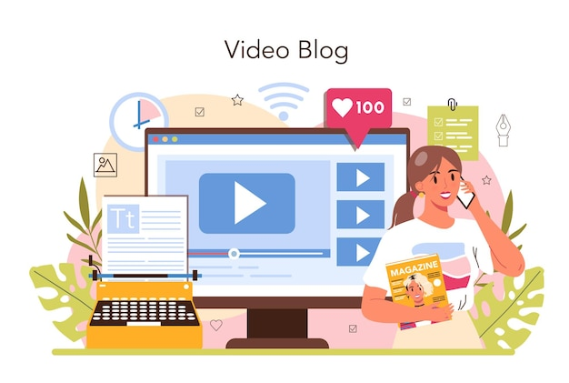 Magazine editor online service or platform. content selection, release and promotion. journalist and designer working on magazine. video blog. flat vector illustration