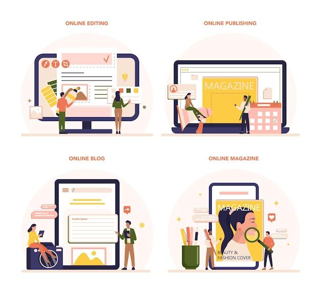 Magazine editor online service or platform set.