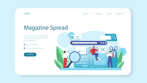 Magazine editor web banner or landing page. journalist and designer working on magazine article and photo. content selection, release plan and promotion. isolated flat vector illustration