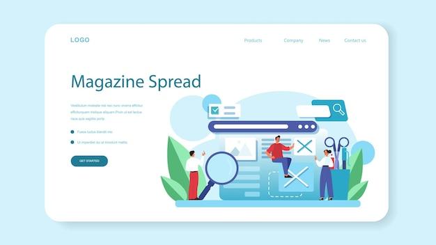 雑誌編集者のウェブバナーまたはランディングページ。雑誌の記事や写真に取り組んでいるジャーナリスト兼デザイナー。コンテンツの選択、リリース計画、プロモーション。分離されたフラットベクトル図