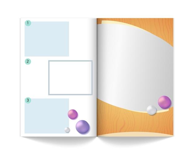 雑誌のモックアップテンプレート。広告や情報、現実的なジャーナルベクトルイラストの領域を持つ空の本。パンフレットと雑誌、空のモックアップコピーブック