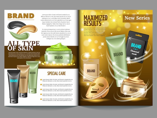 Magazine template of cosmetic.