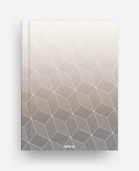 ハーフトーンの幾何学的な背景のカバーと雑誌のテンプレート。背景のノートブックテンプレートカバー。ベクトルイラスト。