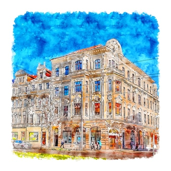마그데부르크 독일 수채화 손으로 그린 그림