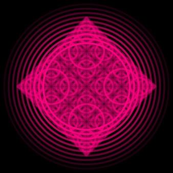 디자인 개념 포스터 배너 웹에 대 한 동그라미와 마젠타 추상 장식 프랙탈 패턴