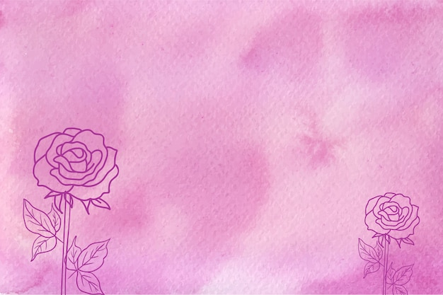 手描きの花の背景とマゼンタの抽象的な水彩テクスチャ