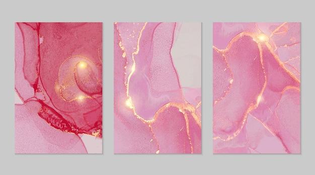 Пурпурный и золотой мрамор абстрактные текстуры