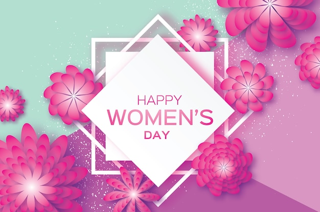 Magenta paper cut flower. 8 march. women's day greeting card. origami floral bouquet. square rhombus frame