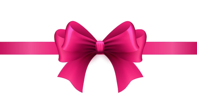 Magenta ribbon with bow on a white background. illustration.