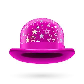 Magenta starred bowler hat