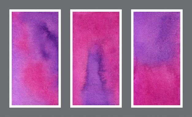 Magenta and violet web banner watercolor background set