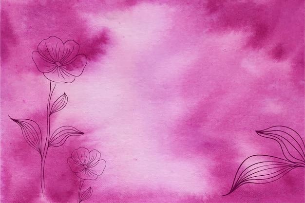 手描きの花とマゼンタの水彩画の背景