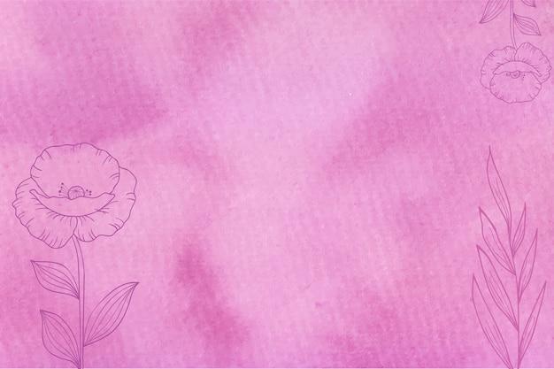 手描きの花の背景とマゼンタの水彩画