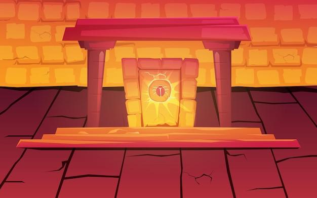 풍뎅이의 상징과 피라미드 또는 파라오 무덤 내부의 신비한 빛이있는 마법의 고대 이집트 포털.
