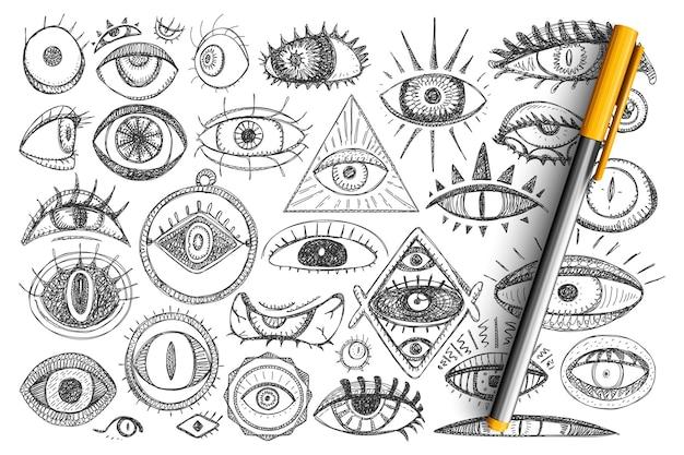 마법과 프리메이슨 낙서 세트. 고립 된 신비주의에 대한 손으로 그린 영적 눈과 마법의 상징의 컬렉션