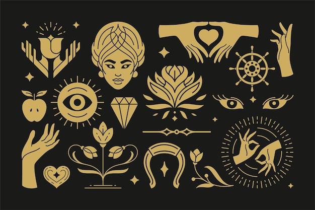 Магические и мистические векторные элементы дизайна с жестами женских рук