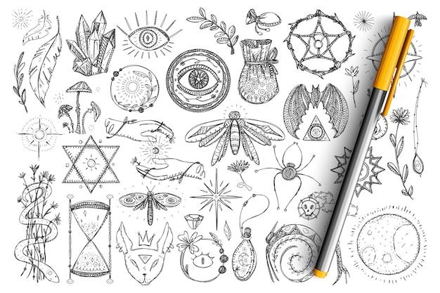 마술과 오컬트 기호 낙서 세트. 고립 된 신비주의에 대한 손으로 그린 영적 눈, 뱀, 수정, 곤충 및 마법의 상징의 컬렉션