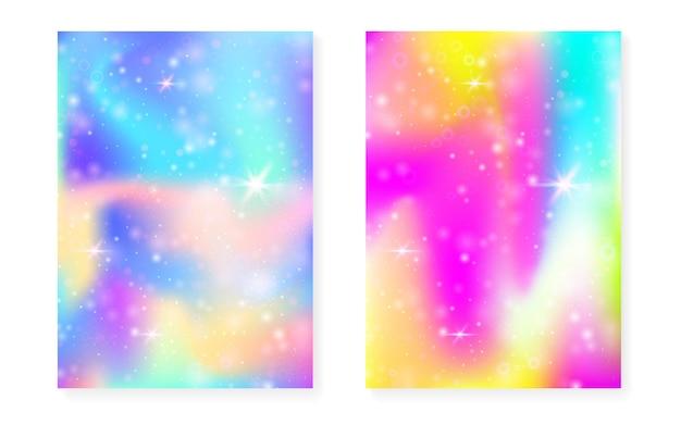 プリンセスレインボーグラデーションと魔法の背景。カワイイユニコーンホログラム。ホログラフィック妖精セット。神秘的なファンタジーカバー。かわいい女の子のパーティーの招待状の輝きと星と魔法の背景。