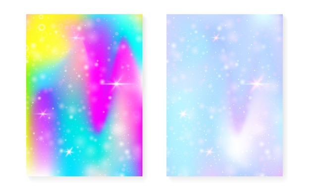 Magic background with princess rainbow gradient. kawaii unicorn hologram. holographic fairy set. spectrum fantasy cover. magic background with sparkles and stars for cute girl party invitation.